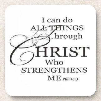 Todas las cosas a través de Cristo Posavasos De Bebida
