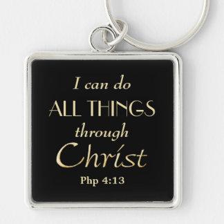 Todas las cosas a través del cristiano del oro de llavero cuadrado plateado