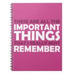 Todas las cosas importantes que debo recordar libretas espirales