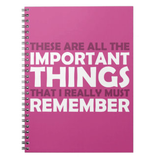 Todas las cosas importantes que debo recordar cuaderno