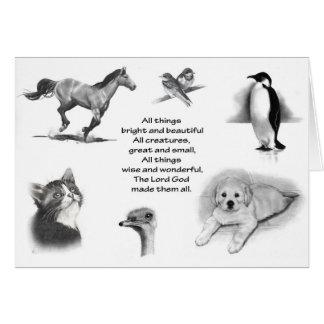 Todas las criaturas grandes y pequeñas: Animales:  Tarjeta De Felicitación