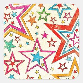Todas las estrellas calcomanía cuadradas personalizada