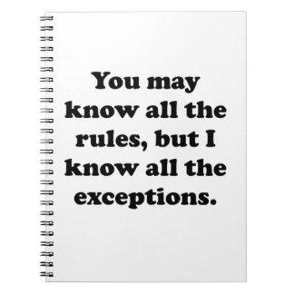 Todas las excepciones libro de apuntes con espiral