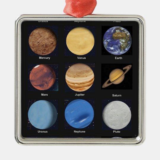Todas las fotos de la ciencia de los planetas con adorno navideño cuadrado de metal