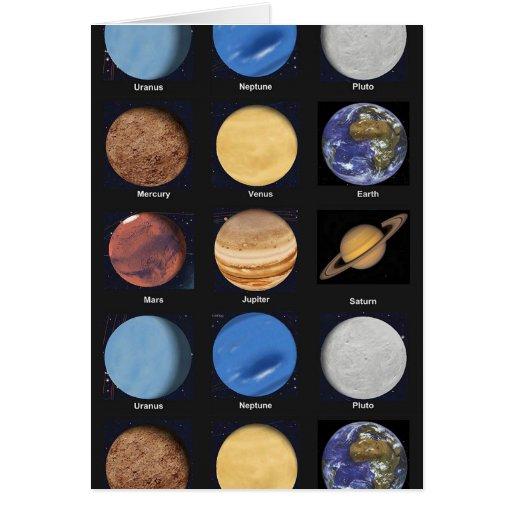 Todas las fotos de la ciencia de los planetas con tarjeta de felicitación