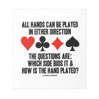 Todas las manos (del puente) se pueden jugar bloc de notas