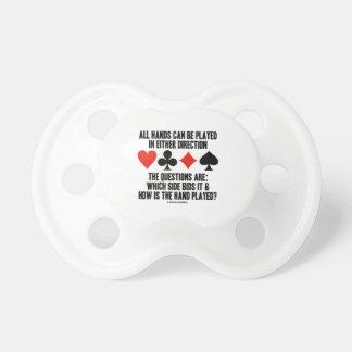 Todas las manos (del puente) se pueden jugar chupetes para bebes