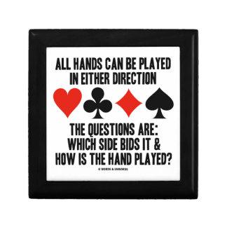 Todas las manos (del puente) se pueden jugar joyero cuadrado pequeño