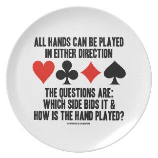 Todas las manos (del puente) se pueden jugar platos para fiestas