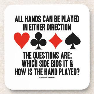 Todas las manos (del puente) se pueden jugar posavasos de bebida
