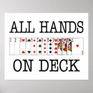 Todas las manos en naipes de la cubierta póster