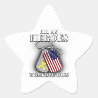 Todas mis placas de identificación del desgaste de pegatina en forma de estrella