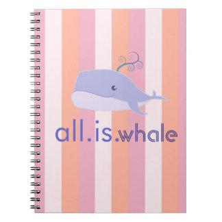 Todas son las rayas de la ballena (azul, rosado) libretas