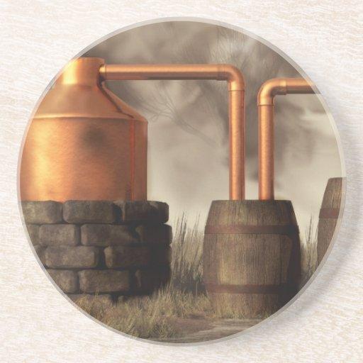 Todavía alcohol ilegal del pantano posavasos diseño
