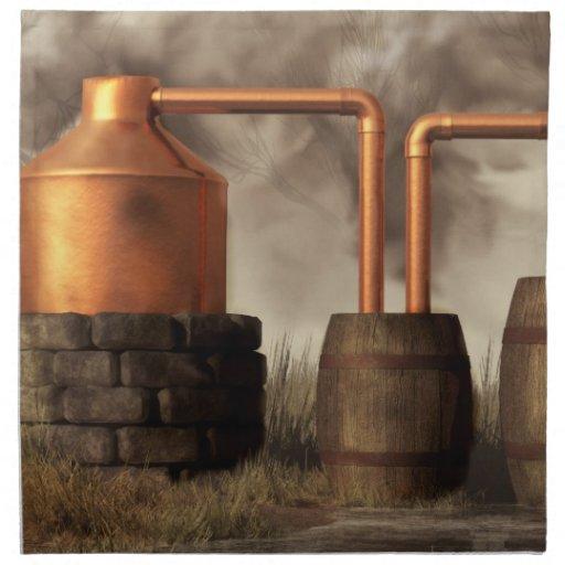 Todavía alcohol ilegal del pantano servilletas imprimidas