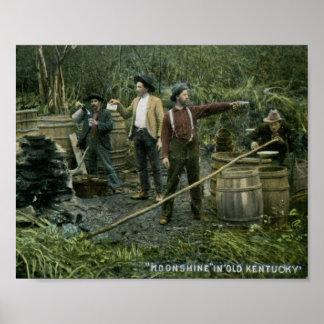 Todavía alcohol ilegal en el viejo vintage 1908 de póster