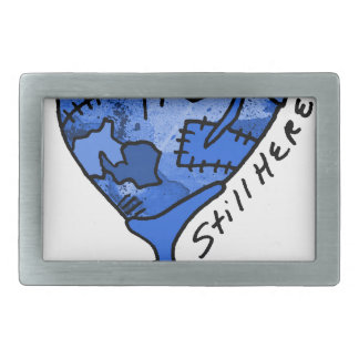 Todavía aquí corazón azul del remiendo hebillas de cinturon rectangulares