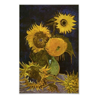 Todavía bella arte de Van Gogh de los girasoles Póster