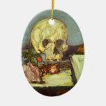 Todavía cráneo de la vida w, vela, libro de Paul Adorno Navideño Ovalado De Cerámica
