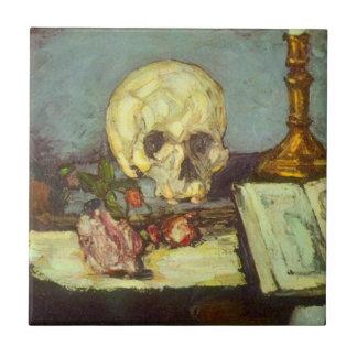 Todavía cráneo de la vida w, vela, libro de Paul Azulejo Cuadrado Pequeño