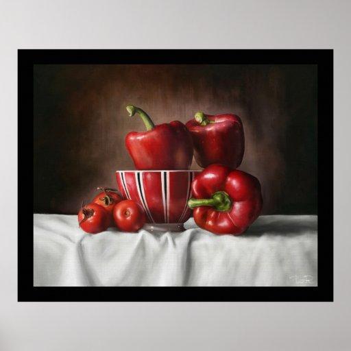 Todavía de la obra clásica vida con los tomates de póster