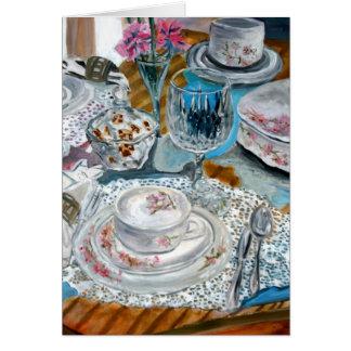 todavía de la pintura al óleo servicio de mesa del tarjeta de felicitación