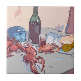 Todavía de los cangrejos vida azulejo cuadrado pequeño