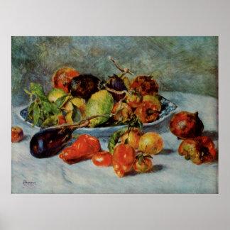 Todavía de Renoir la vida con Fruit mediterránea Posters