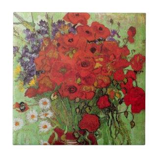 Todavía de Van Gogh amapolas y margaritas rojas de Azulejo Cuadrado Pequeño