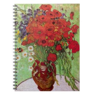 Todavía de Van Gogh amapolas y margaritas rojas de Libros De Apuntes