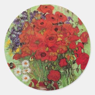 Todavía de Van Gogh amapolas y margaritas rojas de Pegatina Redonda
