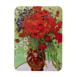 Todavía de Van Gogh amapolas y margaritas rojas de Rectangle Magnet