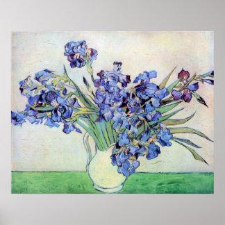 Todavía de Van Gogh florero con los iris, arte de Posters