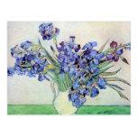 Todavía de Van Gogh florero con los iris, arte de Postal