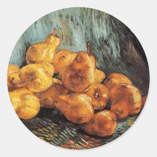 Todavía de Van Gogh vida con las peras del Pegatina Redonda