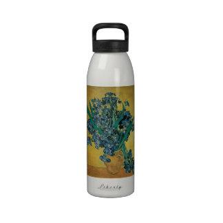Todavía de Van Gogh vida con los iris fondo amari Botella De Beber