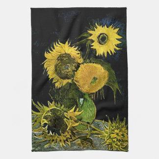 Todavía de Van Gogh vida: Florero, cinco girasoles Toalla