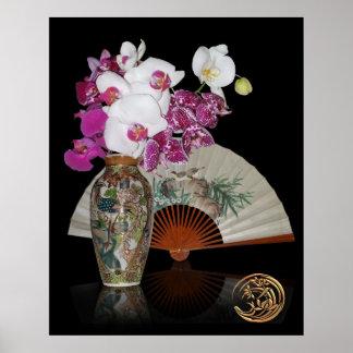 Todavía del asiático orquídeas de la vida y fan pi poster
