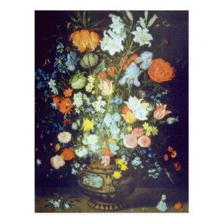 Todavía del naranja la vida de las flores, Jan Bru Tarjeta Postal