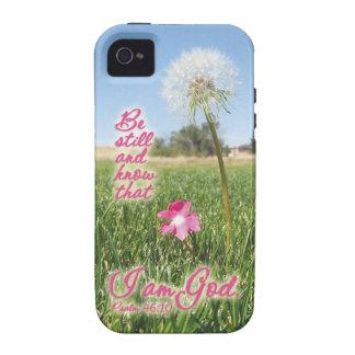 Todavía esté y sepa la cita del verso de la biblia Case-Mate iPhone 4 funda