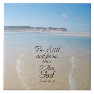 Todavía esté y sepa la playa del 46:10 del salmo azulejo cuadrado grande