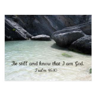 Todavía esté y sepa que soy dios. 46:1 del salmo postales