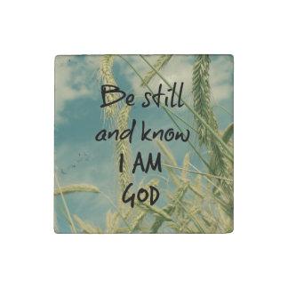 Todavía esté y sepa que soy verso de la biblia de imán de piedra