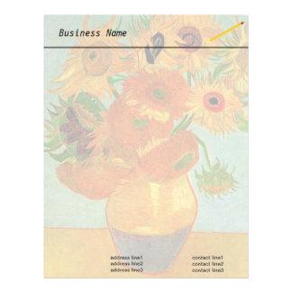 Todavía florero de la vida con doce girasoles de plantilla de membrete