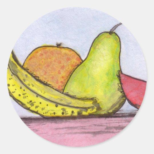 Todavía fruta de la vida pegatina redonda