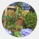 Todavía Hydrangeas del azul de la vida Etiqueta Redonda