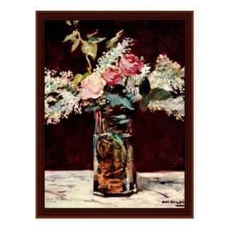 Todavía lilas y rosas de Manet Eduardo Tarjetas Postales