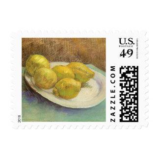 Todavía limones de la vida en una placa de Vincent Sello Postal