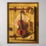 Todavía música Harnett, Victorian del violín de la Posters