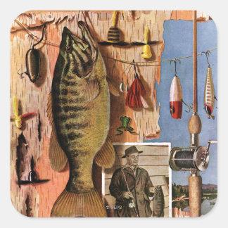 Todavía pesca de vida de Juan Atherton Pegatina Cuadrada